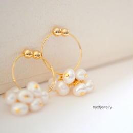 White Pearl Hoop Earring