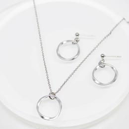 Twist Round Ring Necklace&Pierce set