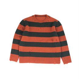 THREE FACE / damage border knit (orange ×green)