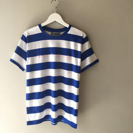 "tr.4 suspension / ""She's So Lovely"" border Tee (blue×white)"