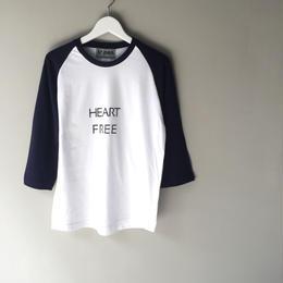 "tr.4 suspension / ""HEART FREE ""  ragran sleeve Tee(white× navy)"
