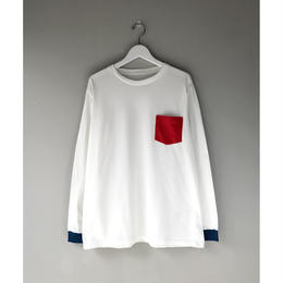 THREE FACE / LS CREWNECK T-SHIRT -daily- (pocket,white)