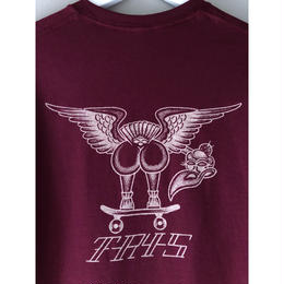 "tr.4 suspension / ""VULTURE back print  S/S tee(burgundy)"