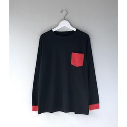 THREE FACE / LS CREWNECK T-SHIRT -daily- (pocket,black)