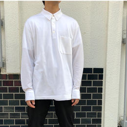 "HERMES /  ""H"" L/S Polo Shirt  (white) (spice)"