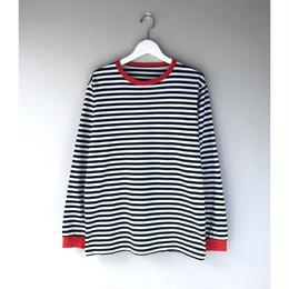 THREE FACE / LS CREWNECK T-SHIRT -daily- (border,white x black x red)