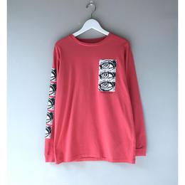 THREE FACE / LS CREW NECK T-SHIRT -TEE2- (orange pink)