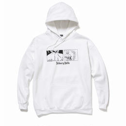 """Delivery Hells / """"come loose"""" HOODIE (white)"""