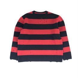 THREE FACE / damage border knit (red×black)