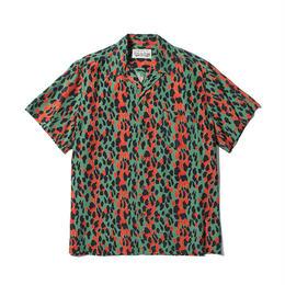 """WACKO MARIA /  """"LEOPARD"""" S/S HAWAIIAN SHIRT (type-1,green-pink)"""
