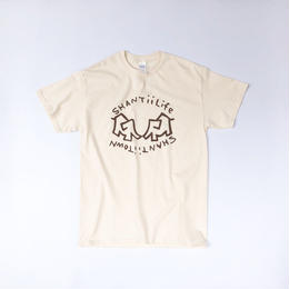 "tr.4 suspension / ""shantii life shantii town"" S/S Tee (natural)"