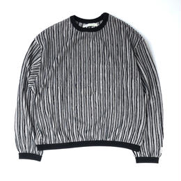 R.M GANG / RIPPLE STRIPE CREW NECK SWEAT (black)
