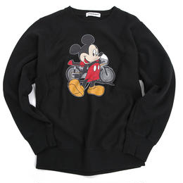 YOSHIDAROBERTO™DISNEY COLLECTIONモーターサイクルミッキーマウスクルーネックスウェットシャツ(ブラック)