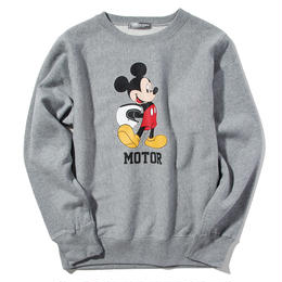 YOSHIDAROBERTO™DISNEY COLLECTIONモーターミッキーマウスクルーネックスウェットシャツ(グレー)