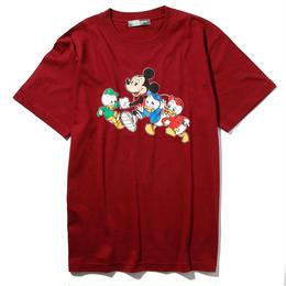 マラソンミッキーマウス&ヒューイ&デューイ&ルーイTシャツ(ワイン)