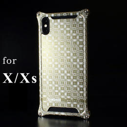 iPhone X/ Xs  アルミ削り出しケース【金運七宝 Shippou】 シャンパンGOLD【送料無料 税込】