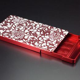 名刺ケース/ジュラルミン削り出し【アラベスク】RED 【送料無料 税込】