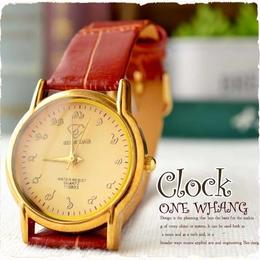 タイ文字腕時計【sak04】タイ文字ロゴがおしゃれアナログ時計レザーバンド 色はゴールドブラウンでカジュアル個性的!メンズとレディース兼用エスニックファッション&アジアン雑貨onewhang