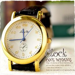 タイ文字腕時計【sak07】タイ文字ロゴがかわいいアナログ時計レザーバンド 色はゴールドブラックでアンティーク風おしゃれで個性的でハデ!メンズレディース兼用エスニックファッション