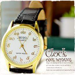 タイ文字腕時計【sak01】タイ文字ロゴがおしゃれアナログ時計レザーバンド 色はゴールドブラックでカジュアル個性的すこしハデ!メンズレディース兼用エスニックファッション&アジアン雑貨
