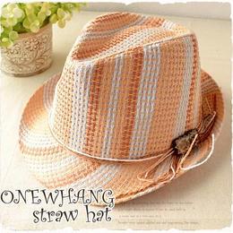 【tk241】個性的なカラフル◆ストローハット オレンジ おしゃれ 帽子♪夏の鉄板ストローハット!メンズ&レディース にも大人気の麦わら帽子