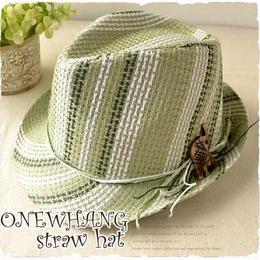 【tk240】個性的なカラフル◆ストローハット グリーン おしゃれ 帽子♪夏の鉄板ストローハット!メンズ&レディース にも大人気の麦わら帽子