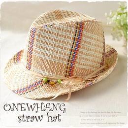 【tk244】個性的なカラフル◆ストローハット beige ベージュ 白  おしゃれ 帽子♪夏の鉄板ストローハット!メンズ&レディース にも大人気の麦わら帽子