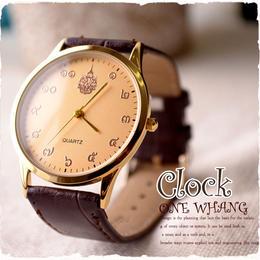 タイ文字腕時計【sak03】高級タイ文字ロゴがおしゃれアナログ時計レザーバンド 色はシャンパンゴールドでカジュアル個性的で派手め!メンズレディース兼用エスニックファッション