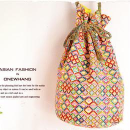 アジアン巾着型ショルダーバッグ【tk343】カラフルで可愛い民族バケットバッグ!派手好き&ヒッピー絶賛のエスニック巾着鞄