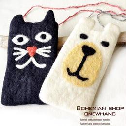 カラフル黒猫シロクマ携帯ポーチ【to292】フェルト素材の携帯ケース!マルチポーチ◆ひも付き♪