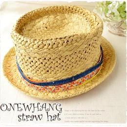 エスニック柄ベージュ麦わら帽子♪かわいい !おしゃれな カンカン帽 です。注目のストローハット♪夏の麦わら帽子!