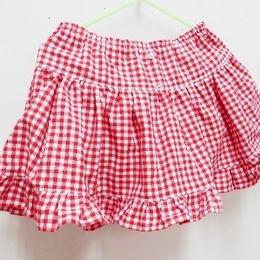 【ああ】ふりふりブルマー付きスカート Baby90-95 赤チェック P17-1137