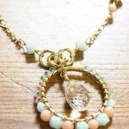 【b☆style】スワロフスキー・エレメント&水晶のコイリングネックレス(ミント) P22-1201