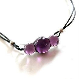 【ガラス工房Lamb】まんまるペンダント 濃紫&サイド紫 L4-264