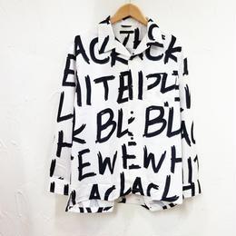 英字プリントオープンカラーシャツ(メンズ)