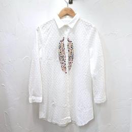 刺繍レースシャツワンピース