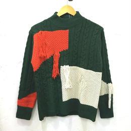 フリンジデザイン切り替えセーター(レディース)