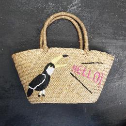 バード刺繍カゴバッグ