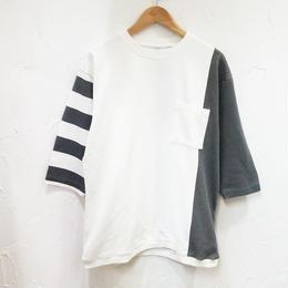 AOZORA  半端袖切り替えプリントTシャツ