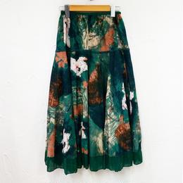 プリントデザイン綿麻スカート
