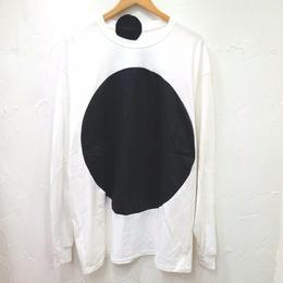 途中でやめる「まるロンT」白×黒 (ユニセックス)