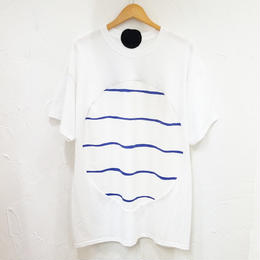 途中でやめる「まるT」ホワイト×波波(ユニセックス)