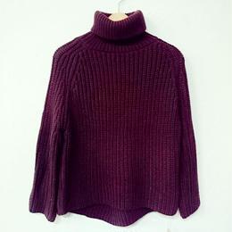 ふんわりニット タートルネックセーター(レディース)