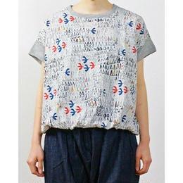バードプリント切り替え裾ギャザープルオーバー(レディース)