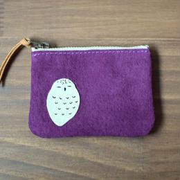 動物ポーチS 紫 シロフクロウ