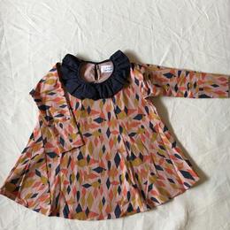 【 folk made 2017AW】#04 circus-print flannel dress / ピンクプリント