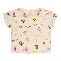 【 Soft Gallery 2018SS 】Nelly T-shirt/ 008.Cream Melange, AOP Fun