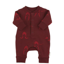 【tiny cottons 2017AW】AW17-086 no-worry dolls fleece onepiece /bordeaux / red / 6-12m