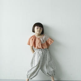【 folk made 2018SS】No.7 flare stripe blouse / ピーチネイビー×ピンク