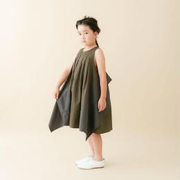【 nunu forme 18SS 】 スクエアパッチワンピース(〜145cm)/Kahki